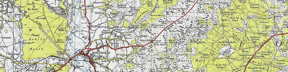 Old map of Linford in 1940