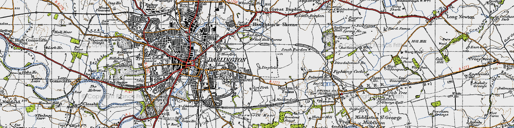 Old map of Lingfield in 1947