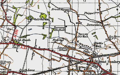 Old map of Lingley Green in 1947