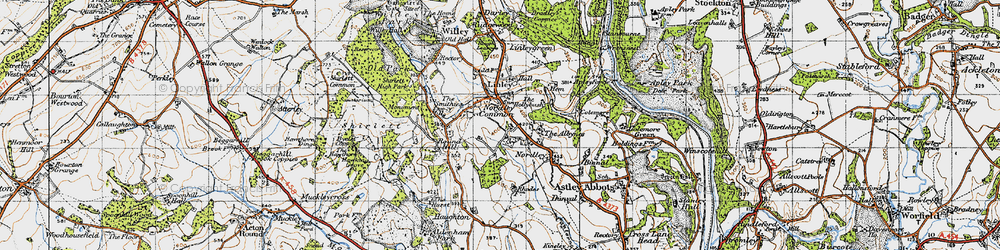 Old map of Linley Brook in 1947