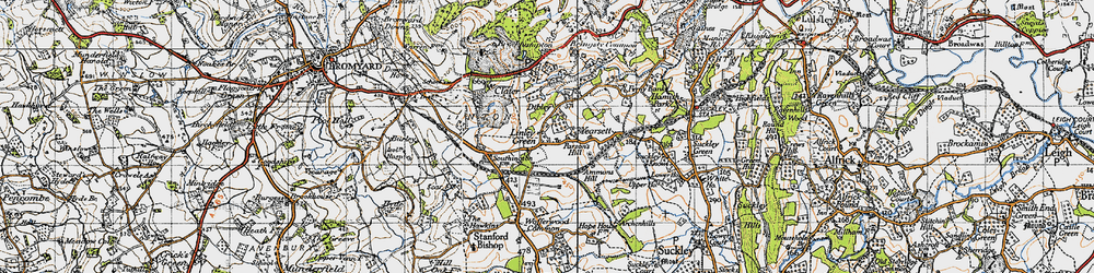 Old map of Linley Green in 1947