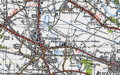 Old map of Linnyshaw in 1947