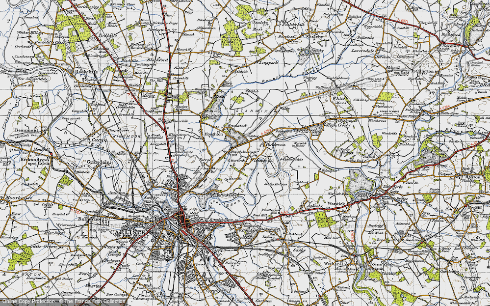Old Map of Historic Map covering Linstock Ho in 1947
