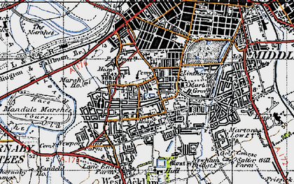 Old map of Linthorpe in 1947