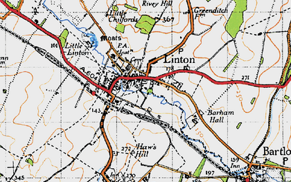 Old map of Barham Hall in 1946
