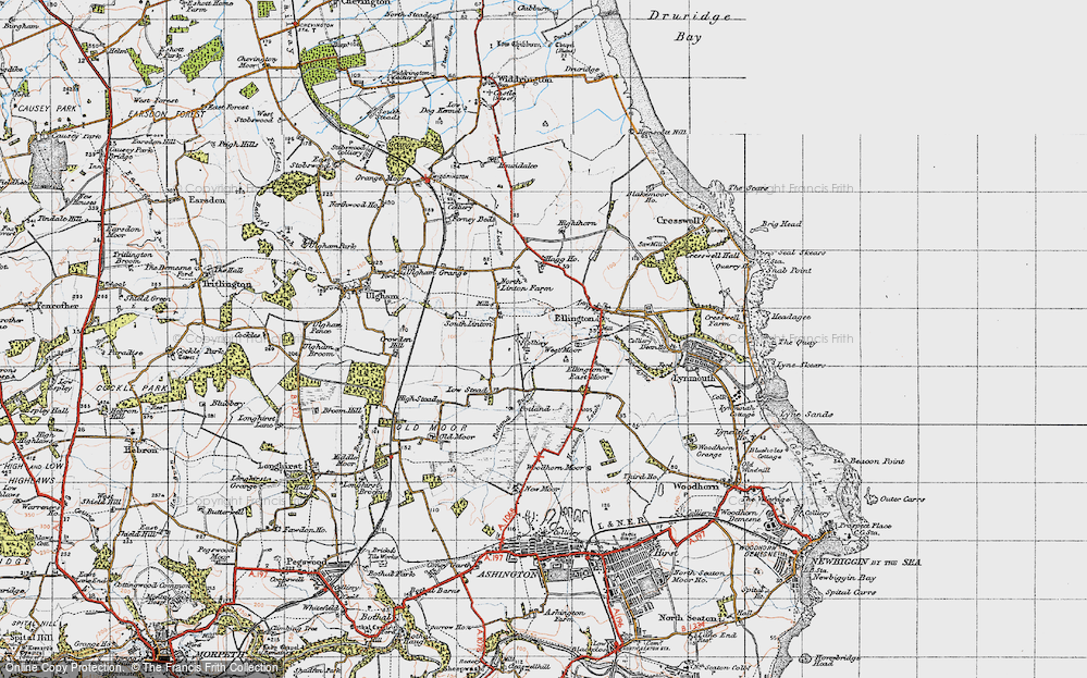 Old Map of Historic Map covering Linton Burn in 1947