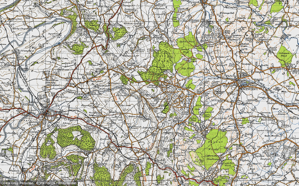 Old Map of Historic Map covering Linton Wood in 1947