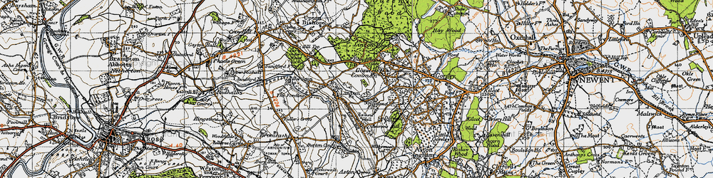 Old map of Linton Wood in 1947