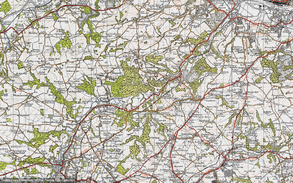 Old Map of Historic Map covering Lintzford Wood in 1947