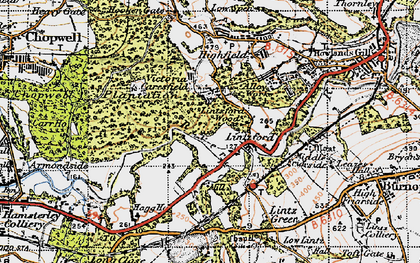 Old map of Lintzford Wood in 1947