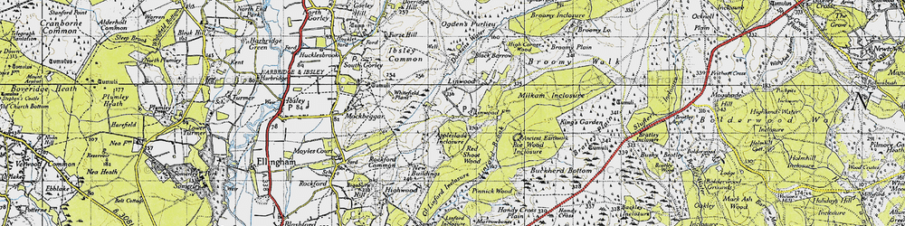 Old map of Linwood in 1940