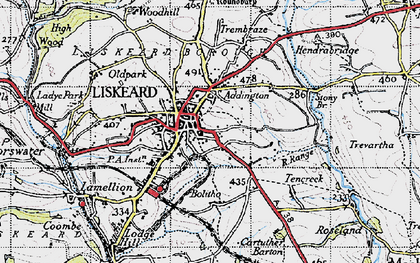 Old map of Liskeard in 1946