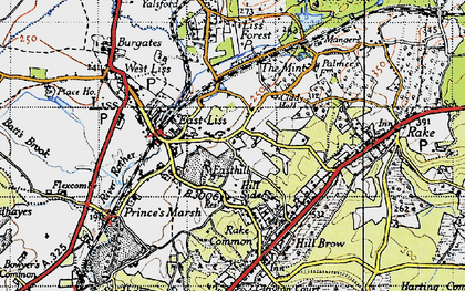 Old map of Liss in 1940