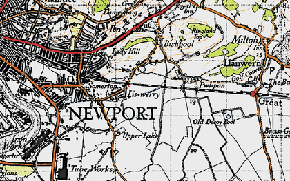 Old map of Liswerry in 1946