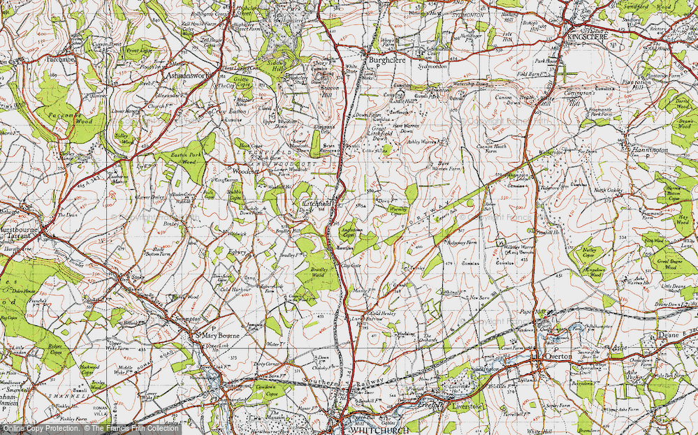 Old Map of Historic Map covering Wormley Copse in 1945