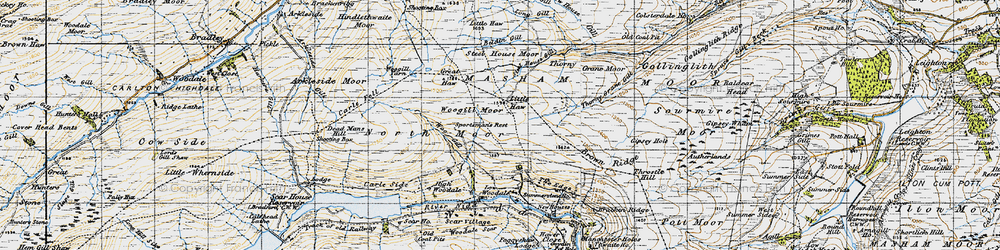 Old map of Woodale Scar in 1947