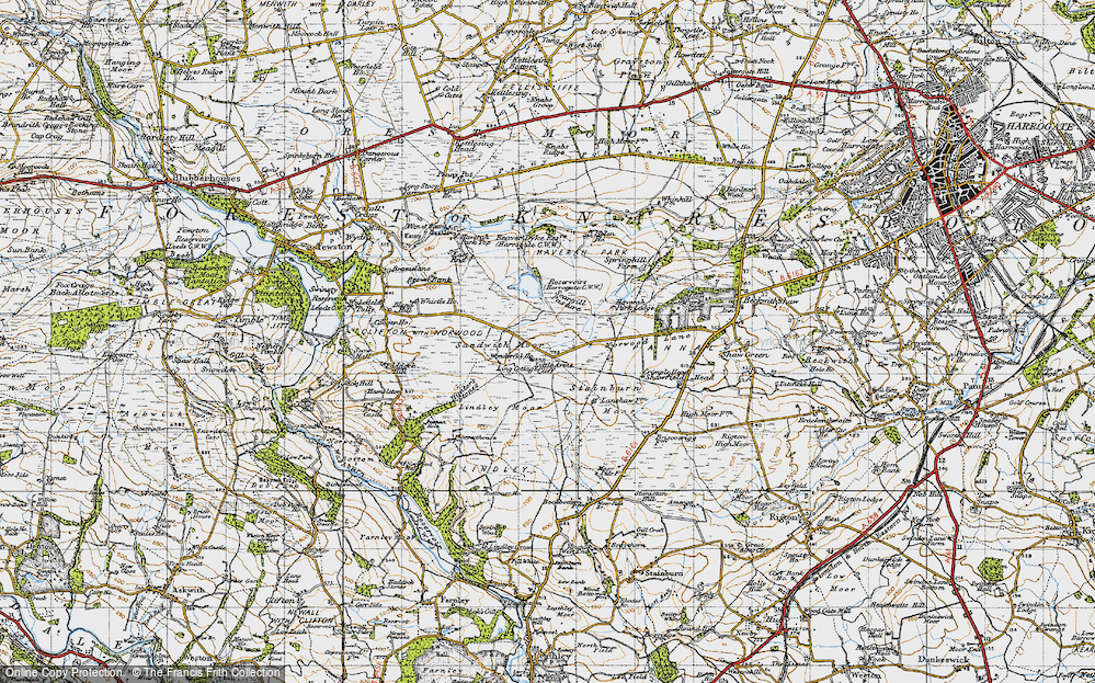 Old Map of Historic Map covering Lindley Moor in 1947