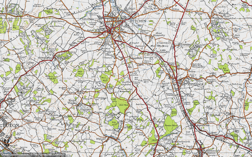 Old Map of Historic Map covering Almshoe Bury in 1946