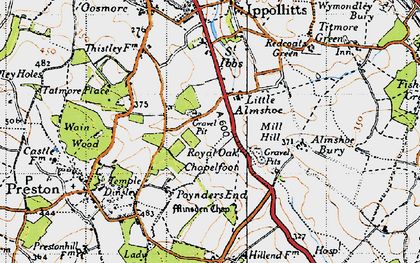 Old map of Almshoe Bury in 1946