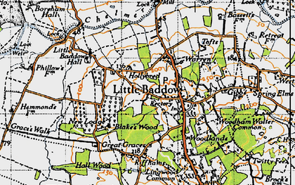 Old map of Little Baddow in 1945