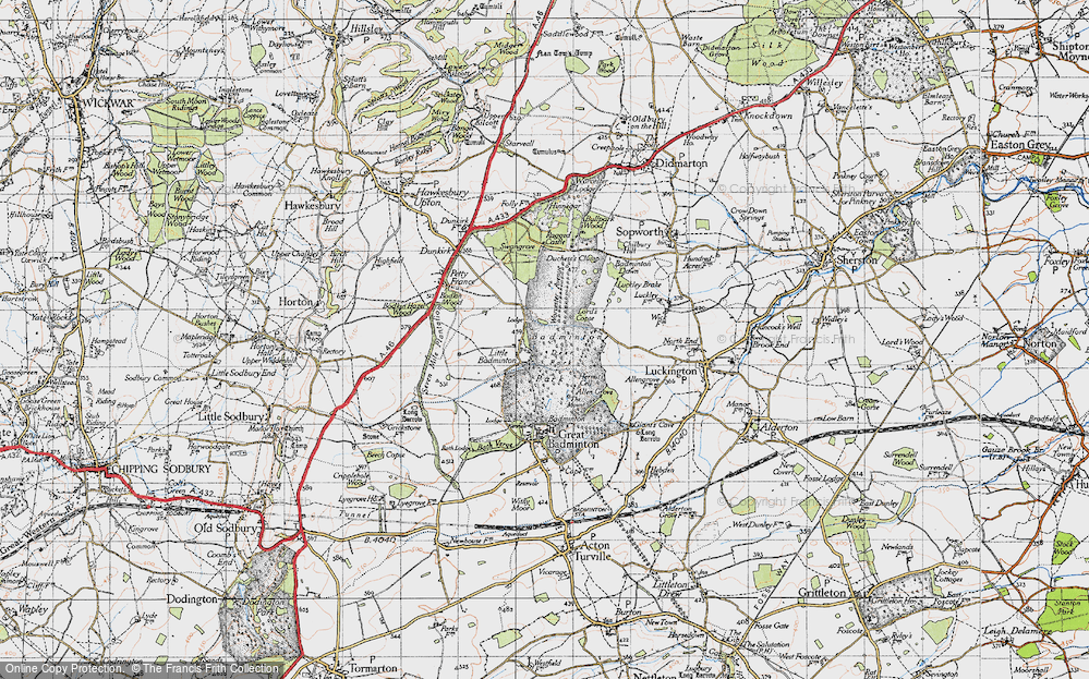 Old Map of Historic Map covering American Barn in 1946