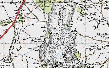 Old map of Badminton Down in 1946
