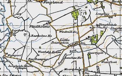Old map of Bampton Beck in 1947