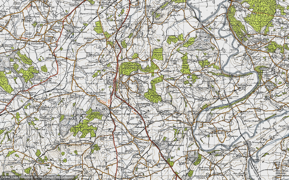 Old Map of Historic Map covering Athelstans Wood in 1947
