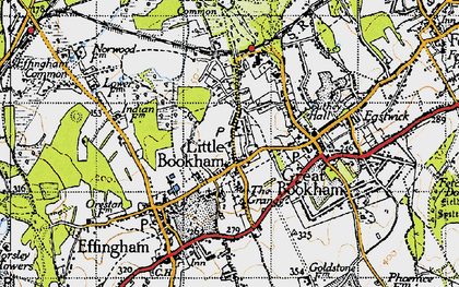 Old map of Little Bookham in 1945