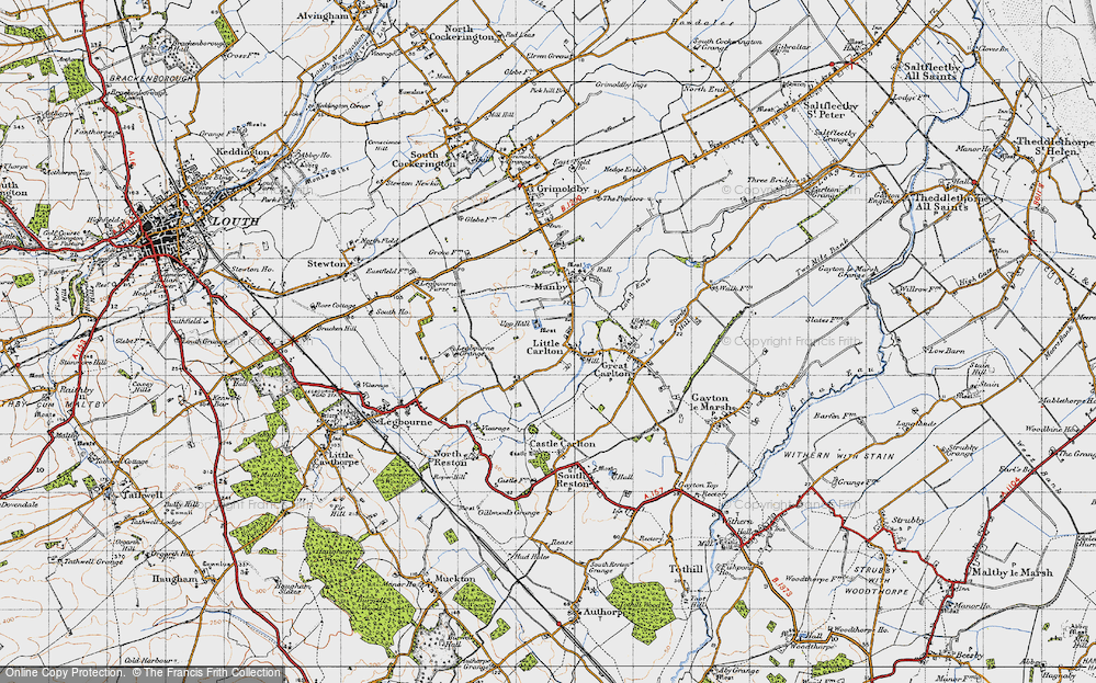 Old Map of Historic Map covering Legbourne Grange in 1946
