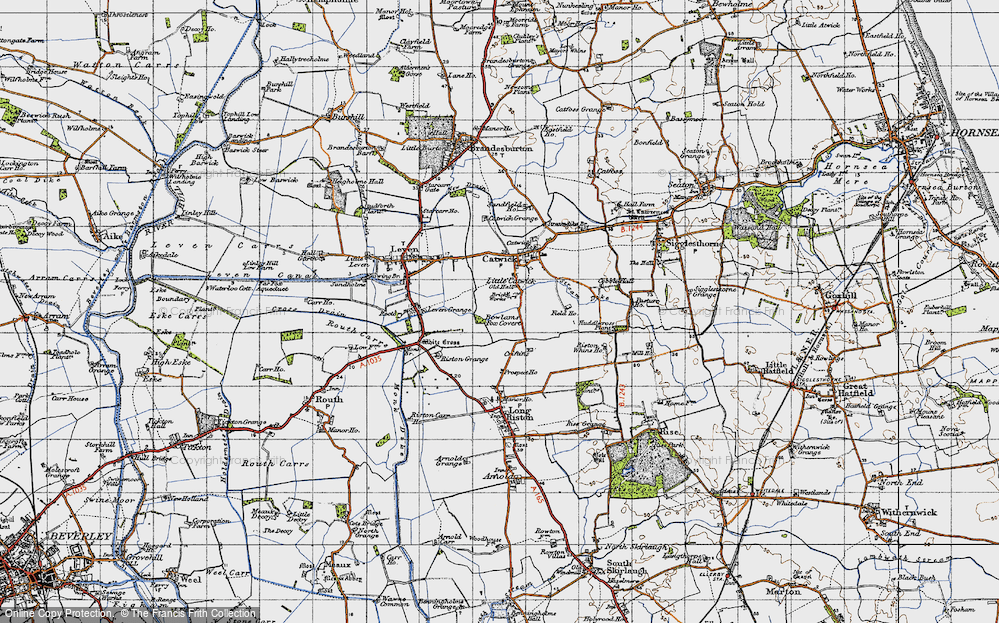 Old Map of Historic Map covering Riston Grange in 1947