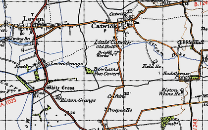 Old map of Riston Grange in 1947