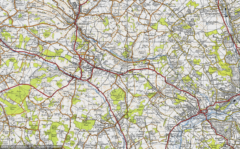 Old Map of Historic Map covering Lane Wood in 1946