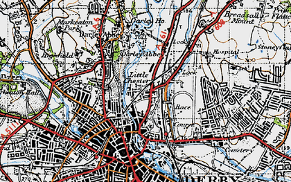 Old map of Little Chester in 1946