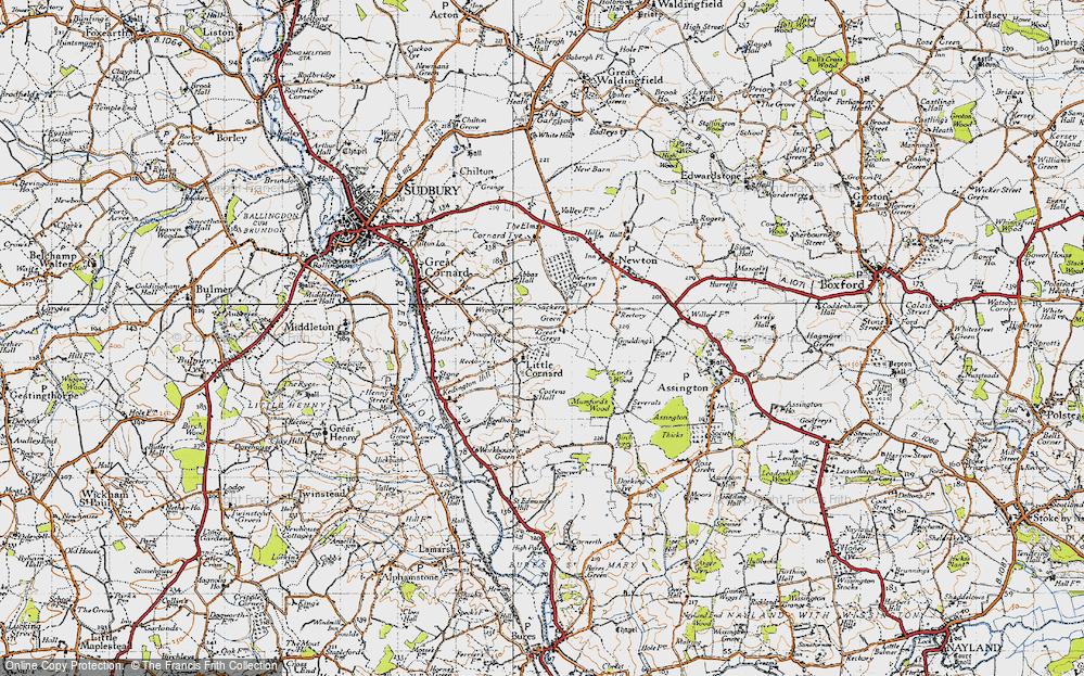 Old Map of Little Cornard, 1946 in 1946