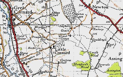 Old map of Little Cornard in 1946