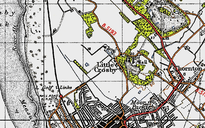 Old map of Little Crosby in 1947