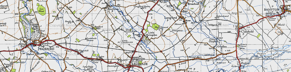 Old map of Langford Ho in 1947