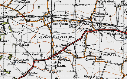 Old map of Ling's End in 1946