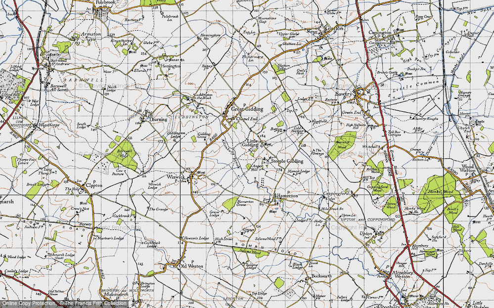 Old Map of Historic Map covering Alconbury Brook in 1946