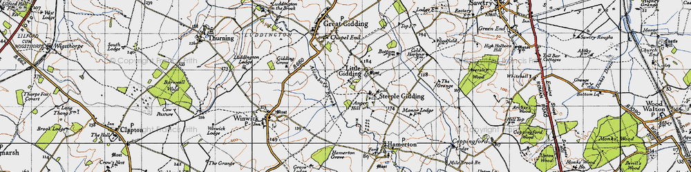 Old map of Alconbury Brook in 1946