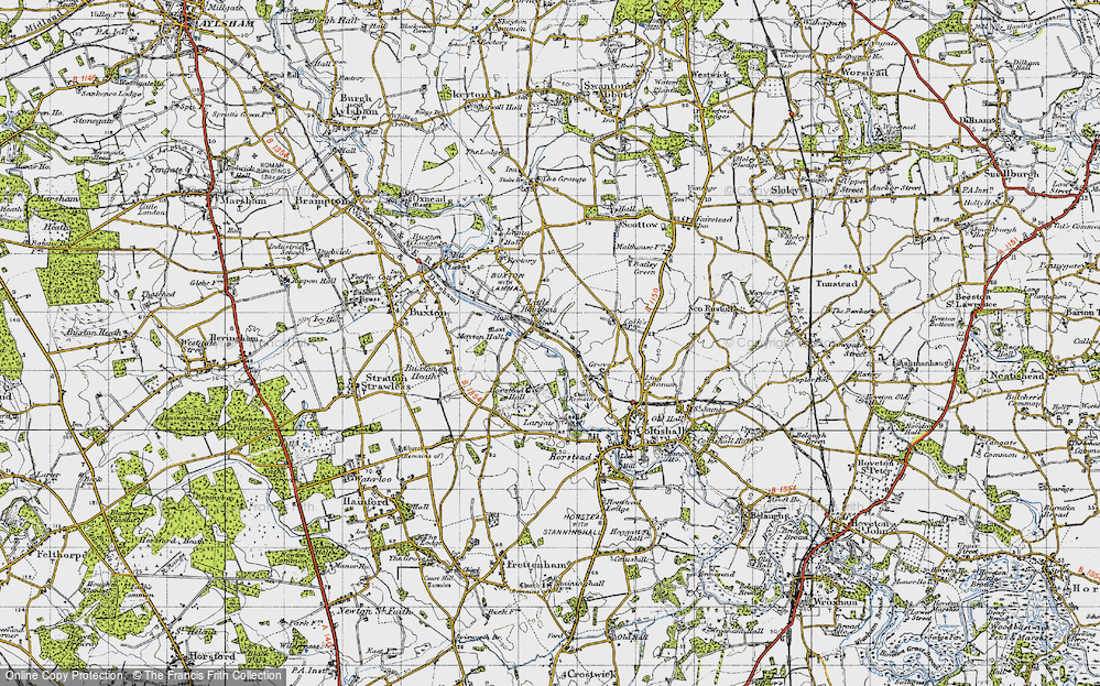 Old Map of Historic Map covering Largate in 1945