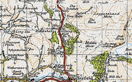 Old map of Little Hayfield in 1947