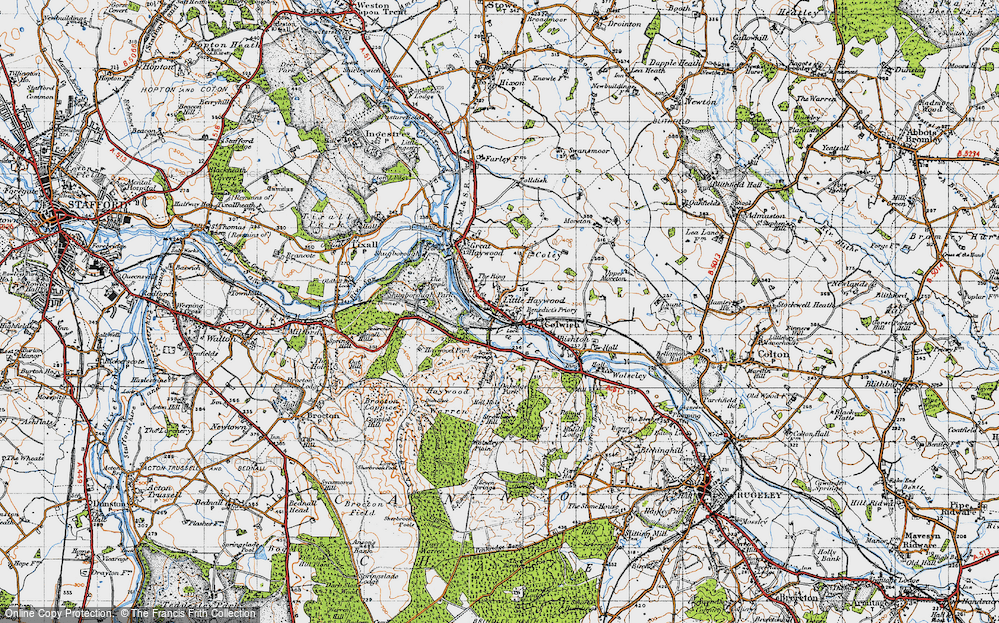 Old Map of Historic Map covering Abraham's Valley in 1946
