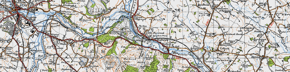 Old map of Little Haywood in 1946