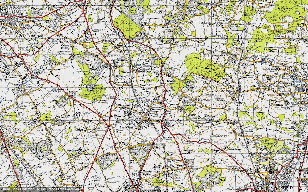 Old Map of Historic Map covering Leggatts Park in 1946