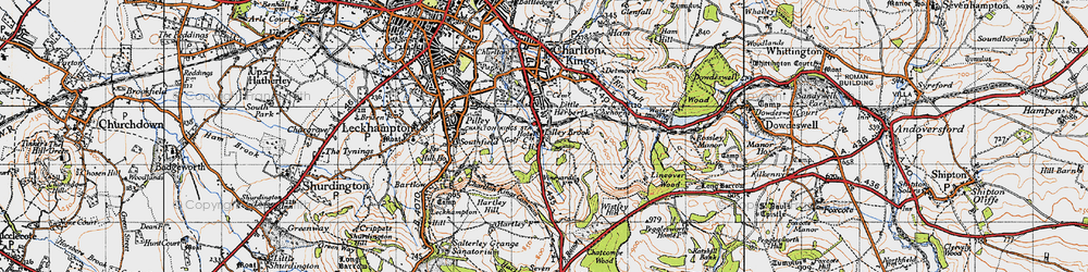 Old map of Wistley Hill in 1946