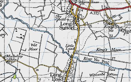 Old map of Wet Moor in 1945