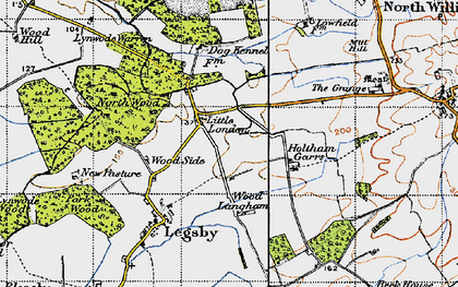 Old map of Willingham Woods in 1946