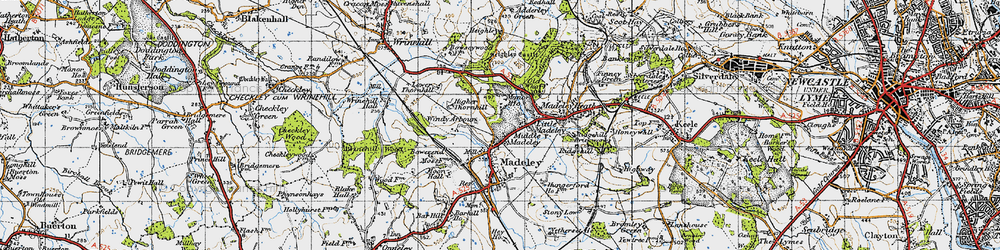 Old map of Windy Arbour in 1946